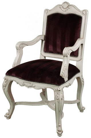French Carved Cross Rail Armchair - Ivory