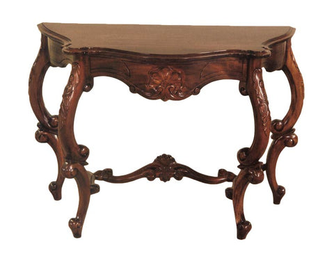 Heavy Carved Serpentine Console Table