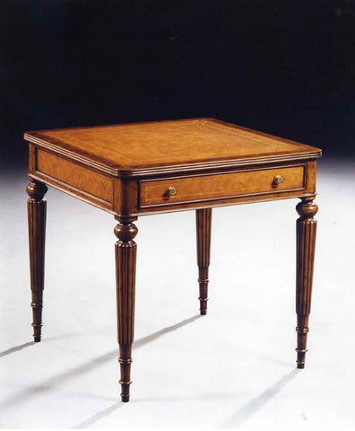 Burl 1 Drawer Reeded Leg Side Table