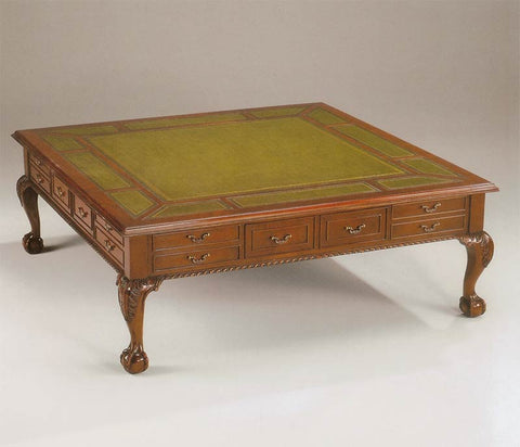 Square Chippendale Leather Top Coffee Table