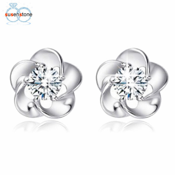 SUSENSTONE Silver plated earrings Rose Flower Shaped Crystal Stud Earrings for Women Ladies Gift fashion jewelry
