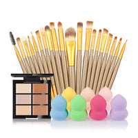 6-Color Concealer +20 Makeup Brush + Water Puff Puff Powder Puff