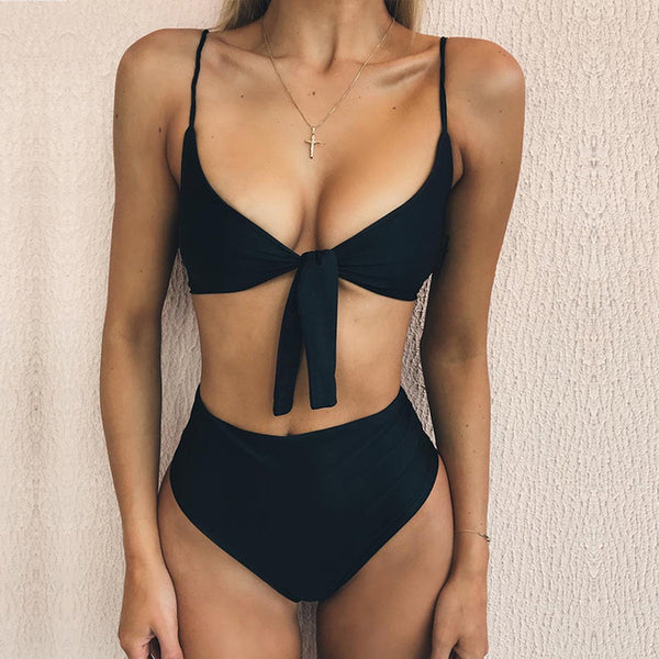 2018 new style sexy swimsuits solid color bow tie with split bikini