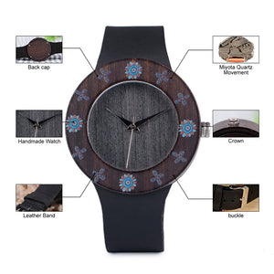 Womens Wooden Watch - Ebony Vintage Printed flowers