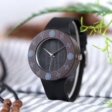 Load image into Gallery viewer, Womens Wooden Watch - Ebony Vintage Printed flowers