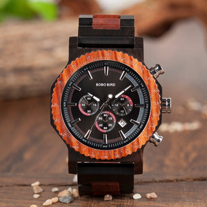 Mens Wooden Watch - Chronograph Ebony & Redwood
