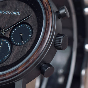 Men & Women Wooden Watch - Chronograph on Ebony