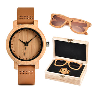 Womens Wooden Gift Box  - Bamboo Watch and Brown Wooden Sunglasses