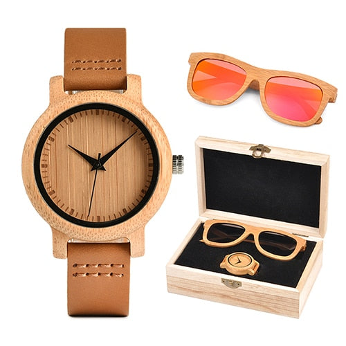 Womens Wooden Gift Box  - Bamboo Watch and Red Wooden Sunglasses
