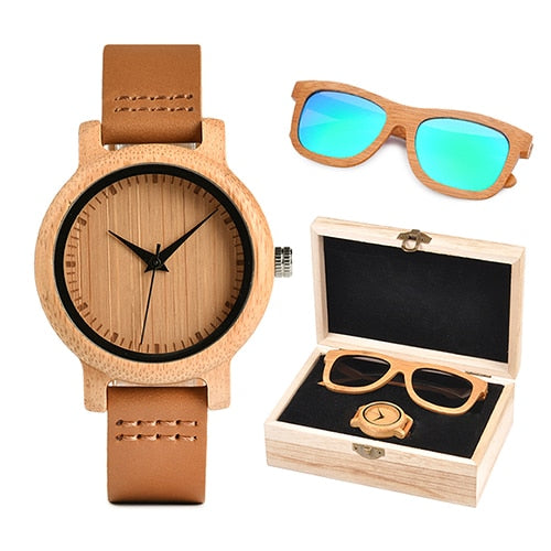 Womens Wooden Gift Box  - Bamboo Watch and Green Wooden Sunglasses