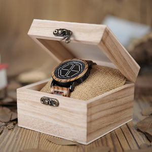 Mens Wooden Watch - White Digital On Koa Wood