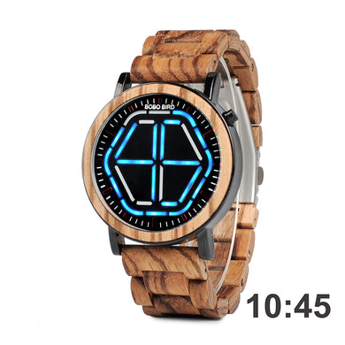Mens Wooden Watch -  Blue Digital On Koa Wood
