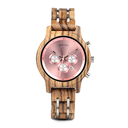 Womens Wooden Watch - Chronograph Rose Gold On Walnut