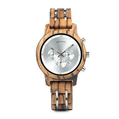 Womens Wooden Watch - Chronograph Silver On Walnut