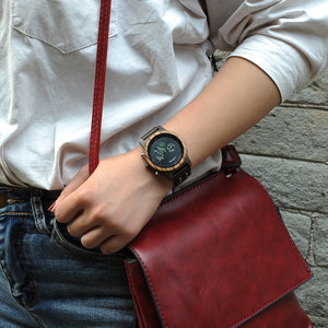 Womens Wooden Watch - Chronograph Darken Walnut