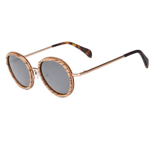 Rounded Metal & Wooden Polarized Sunglasses