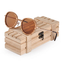 Load image into Gallery viewer, Rounded Metal & Wooden Polarized Sunglasses