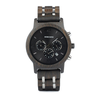 Mens Wooden Watch - Chronograph Ebony