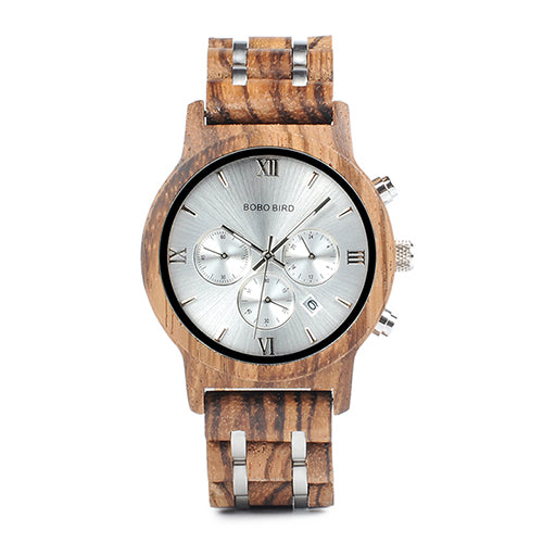 Mens Wooden Watch - Chronograph Silver On Zebrawood