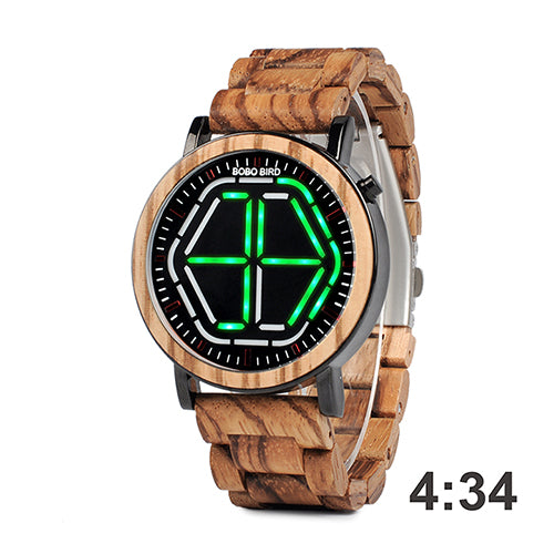 Mens Wooden Watch - Green Digital On Koa Wood