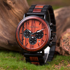 Wooden Watch - Chronograph Ebony & Redwood