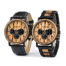 Load image into Gallery viewer, Wooden Watch - Chronograph Leather/Wood Steel Band