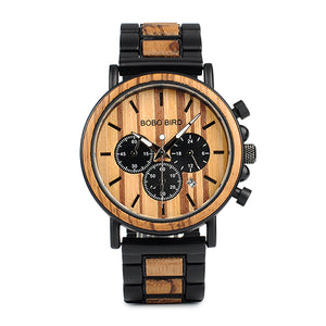 Wooden Watch - Chronograph Leather/Wood Steel Band
