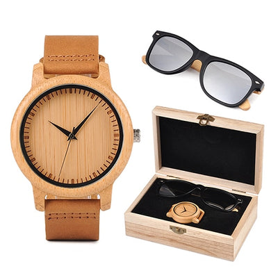 Mens Wooden Gift Box - Bamboo Watch and Silver Wooden Sunglasses