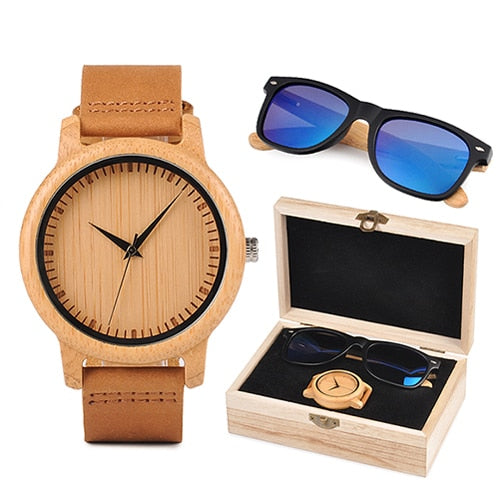 Mens Wooden Gift Box - Bamboo Watch and Blue Wooden Sunglasses