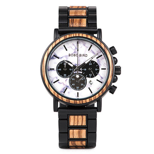 Mens Wooden Watch-  Chronograph Military Teakwood