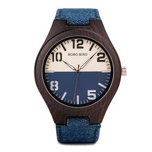 Load image into Gallery viewer, Mens Wooden Watch - Fashion Denim
