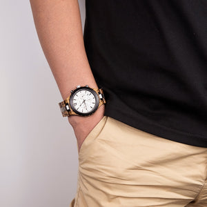 Mens Wooden Watch -  Luxury Chronograph Military Dated