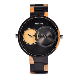 Men & Women Wooden Watch - Fashion Double Time