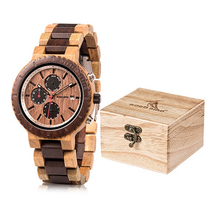 Mens Wooden Watch - Luxury Chronograph Dated