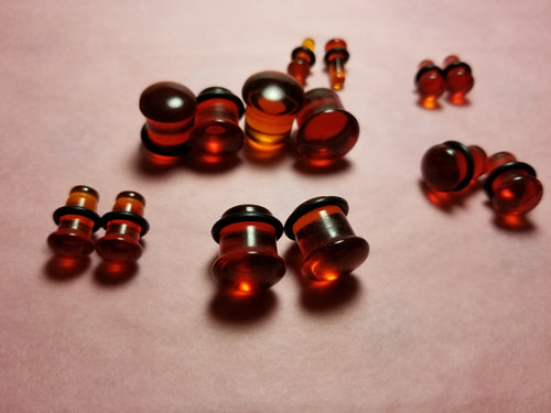 Red Single Flared Glass Plugs