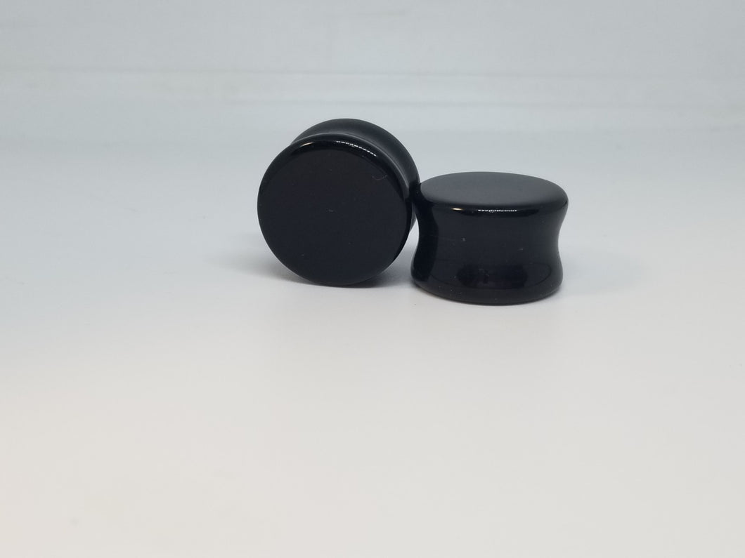 Black Agate Double Flared Plugs