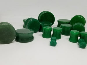 Green Jade Double Flared Plugs