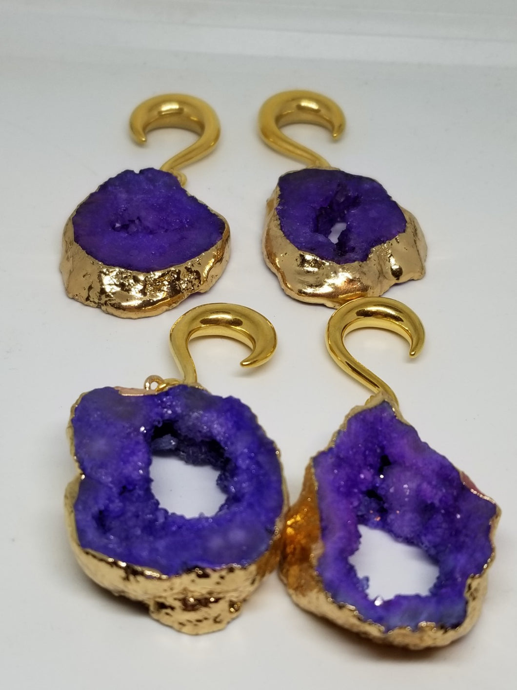 Purple Geode Ear Weights