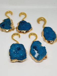 Blue Geode Ear Weights