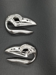 Feather Engraved Bird Skull Ear Weights