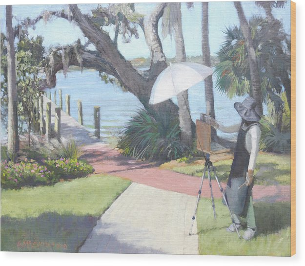 Bay Preserve Plein Air Painter - Wood Print