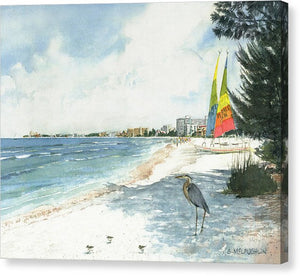 Blue Heron And Hobie Cats, Crescent Beach, Siesta Key - Canvas Print