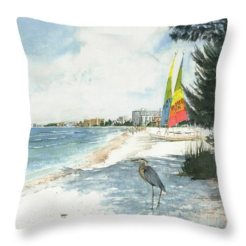 Blue Heron And Hobie Cats, Crescent Beach, Siesta Key - Throw Pillow