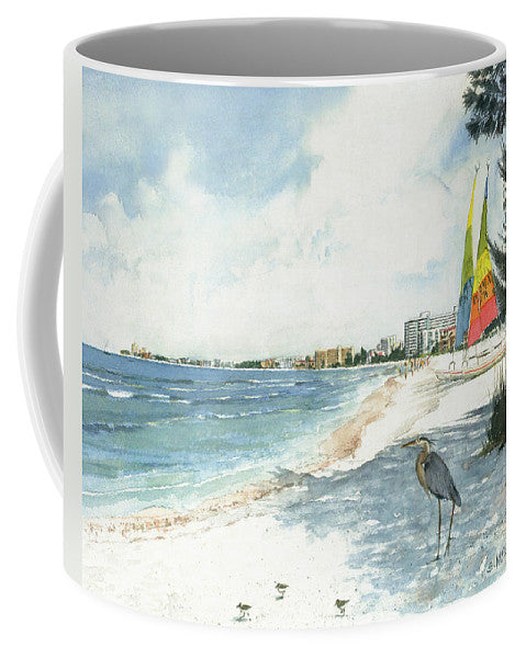 Blue Heron And Hobie Cats, Crescent Beach, Siesta Key - Mug