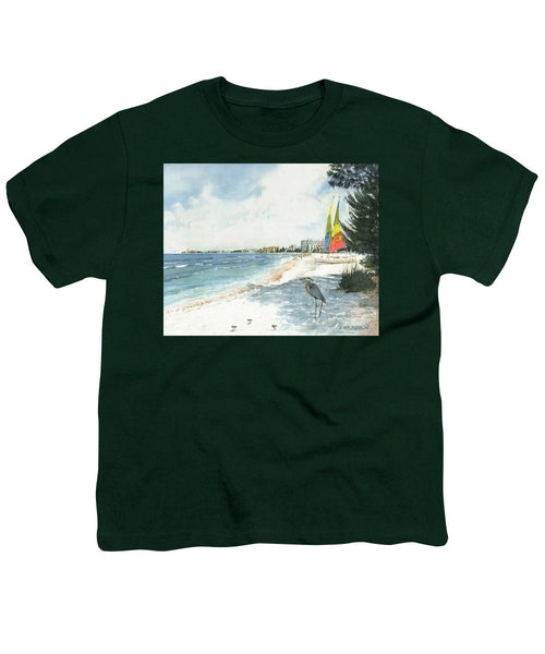 Blue Heron And Hobie Cats, Crescent Beach, Siesta Key - Youth T-Shirt