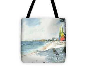 Blue Heron And Hobie Cats, Crescent Beach, Siesta Key - Tote Bag