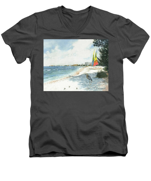 Blue Heron And Hobie Cats, Crescent Beach, Siesta Key - Men's V-Neck T-Shirt