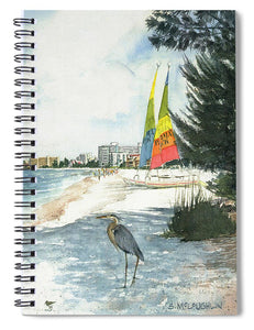 Blue Heron And Hobie Cats, Crescent Beach, Siesta Key - Spiral Notebook