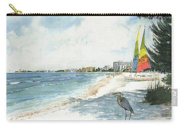 Blue Heron And Hobie Cats, Crescent Beach, Siesta Key - Carry-All Pouch