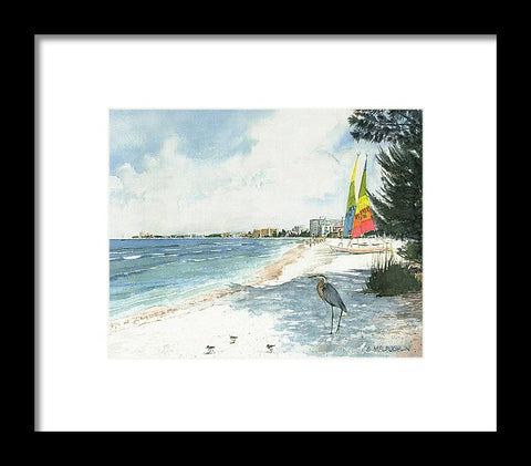 Blue Heron And Hobie Cats, Crescent Beach, Siesta Key - Framed Print